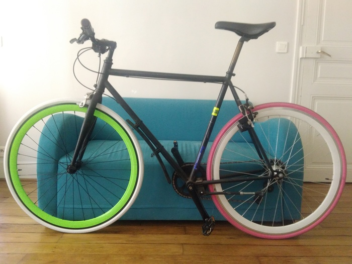 My bike with its pink rear wheel