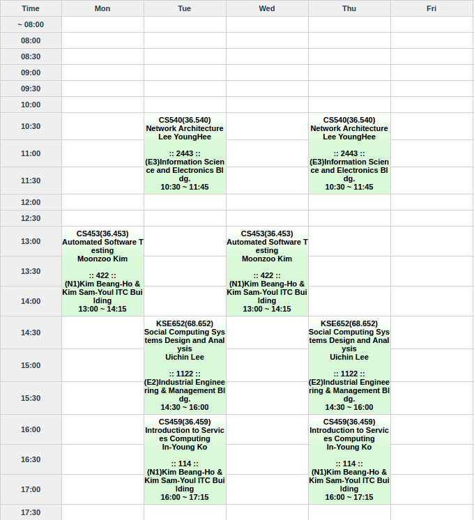 My weekly timetable